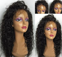 Монгольский парик онлайн-Монгольский девственные волосы парик фронта шнурка для чернокожих женщин свободные волны полный парик человеческих волос шнурка Glueless