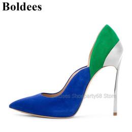 farbe schuhe grünes kleid Rabatt Mode Blau Grün Wildleder Mischfarbe Patchwork Frauen High Heel Kleid Schuhe Spitz Klinge Hochhackige Pumps Party Schuhe
