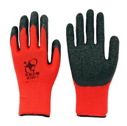 Trabalhando luvas de algodão on-line-Luvas de luva de trabalho de algodão vermelho revestido de látex preto novo