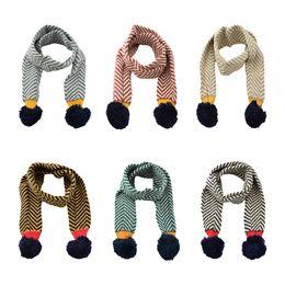 crochet niños cuello calentador Rebajas Niños calientes de punto de rayas borlas bufandas niños niñas invierno cálido cuello de ganchillo cuello pañuelo pañuelos