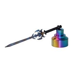 Colorido clavo de titanio 14 mm / 18 mm Cuchilla de titanio Dabber Tool y Titanium Carb Cap Tool para fumar Tubería de agua de vidrio Plataformas de aceite Vaporizador desde fabricantes