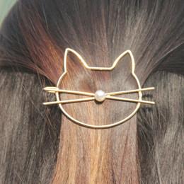 2019 broches de torsion en gros Mode Creux Mignon Chat Épingle À Cheveux Imitation Perle Épingle À Cheveux Cheveux Côté Clip Accessoires Barrette Pour Femmes Fille Cadeaux
