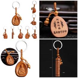 Vente chaude Chanceux Bijoux Peach Bois Sculpture boucle Bouddha Pendentif Porte-clés Nouvelle Arrivée Pour Voiture Sac porte-clés En Gros ? partir de fabricateur