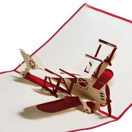 2019 mensajes del arbol de navidad marki nueva mano 3d pop-up diseño de tarjetas de felicitación avión tarjetas de agradecimiento avión traje de tarjetas de cumpleaños para el amigo niños WN050A