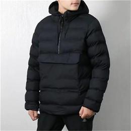 uomini rivestono di fronte Sconti Warm progettista degli uomini spessi giacche di marca con cappuccio in cotone Giù cappotto Via sport tasca frontale lungo Windbreaker Mezza Zipper casual invernale B101143L