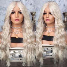 Parrucca ondulata capelli biondi online-Spedizione gratuita # 60 parrucca bionda platino con capelli del bambino 26 pollici parrucca sintetica ondulata lunga pizzo anteriore glueless parrucche resistenti al calore per le donne