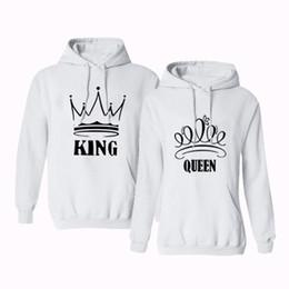 corona de la reina blanca Rebajas SKMY Corona con estampado de corona blanca rey y reina sudaderas con capucha a juego de manga larga sudadera con cabeza streetwear mujer ropa 2019