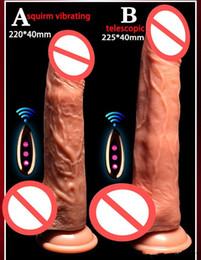 Ventosas vibrantes juguetes sexuales online-Remoto inalámbrico Controal Calefacción gran consolador de silicona Copa de succión del pene artificial Squirm Vibrador telescópico vibrador juguete del sexo para las mujeres