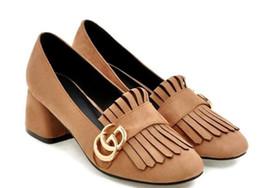 Zapatos del medio online-2018 zapatos de gamuza para mujer en primavera y otoño con estilo nuevo tacón medio Tacón grueso Cabeza cuadrada