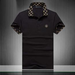 2019 camisas polo padronizadas 19ss nova rua dos homens polo camisa pólo designer de moda de moda de manga curta preto verão algodão reto Polys homens 38 camisas polo padronizadas barato