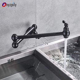 2019 rubinetti a parete neri Rubinetto da cucina Pot Filler a muro braccio girevole a due maniglie pieghevole corpo 2 giunto nero olio lucidato bronzo solo rubinetto freddo rubinetti a parete neri economici