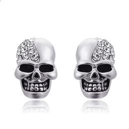 Espárragos del cráneo online-Pendientes de cristal de diamantes de imitación de la vendimia de la joyería de Halloween Pendientes de cristal de diamantes de imitación para hombres Mujeres Pendientes de hip-hop Pendientes de fiesta de oreja de esqueleto de roca vintage