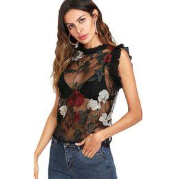 Fleur brodé garniture de garniture pure maille Top femmes col rond sans manches sexy d'été à volants Night Out Blouse Shirt Q190507 ? partir de fabricateur
