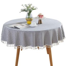 Tovaglia di cotone tovaglia Runner copertura a righe soggiorno per cucina rotonda nappa pranzo a prova di polvere decorativa da cristalli da tavola gialli fornitori