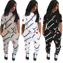 kurze strumpfhosen für mädchen Rabatt Champion Marke Trainingsanzug Kurzarm Pocket Letter Print Zweiteilige Sets plus Größe Frauen Mädchen Outfits Tights Leggings Hose T-Shirt Anzug