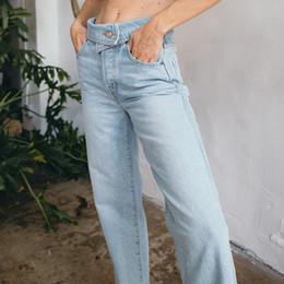 Marke 2019 Mode Freund Stil Breite Bein Jeans Frauen Frühling Sommer Gerade Denim Hosen Kausal Lange Sky Blue Frauen Jeans