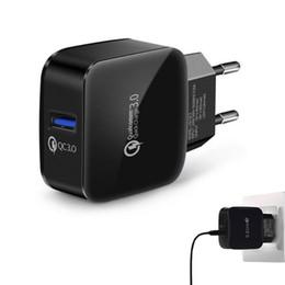 cargos domiciliarios Rebajas QC3.0 Adaptador de cargador de pared USB Carga rápida Adaptador de viaje de carga Inicio EE. UU. EU Dock Para iPhone XS MAX Samsung S10 PLUS S10e