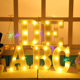 Diy natal sinal de luz letreiro 3d alfabeto pendurado 26 letra do inglês levou luz da noite em casa decoração do partido de halloween de