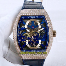 Rose caso de ouro relógio automático on-line-Luxry New Saratoge Vanguard S6 Yachting V45 S6 Yacht Blue Skeleton Dial Miyota Automatic Mens Watch Rose Gold Diamond Case Couro Relógios de couro