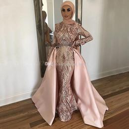 2020 lentejuelas de oro noche kaftan musulmán Arabia Saudita manga larga sirena vestido de noche musulmán con tren desmontable Cazador de oro rosa Lentejuelas Kaftan Dubai Prom Vestidos formales lentejuelas de oro noche kaftan musulmán baratos