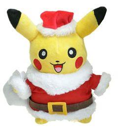 Juguetes de cosas de santa claus online-Navidad Pikachu Cosplay de peluche de Santa Claus kawaii suave relleno de dibujos animados Anime juguetes para niños muñecas para la decoración de Navidad 28 cm
