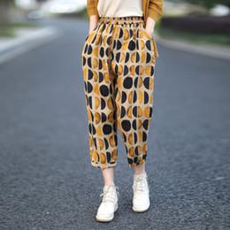 Literario retro punto algodón y lino pantalones harén pantalones mujer lino vestido de verano desde fabricantes