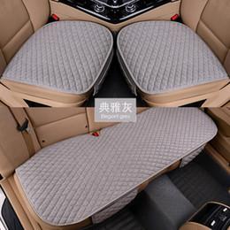 Acolchado de asiento automático online-Funda de asiento de coche de tela de lino Four Seasons Front Rear Cojín de lino Protector transpirable Mat Pad Accesorios para automóviles Tamaño universal