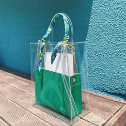 Bolsas de asas bandera online-3 Unids PVC Compras Bolso Tote Shopper Manijas Claro Transparente Bufanda de Gran Capacidad Banderas Sobre Bolsas de Hombro 7 Colores A689