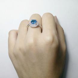 элегантные синие украшения для женщин Скидка Высокое Качество Sea Blue Crystal Кольца Серебристого Цвета Медь Циркон Обручальное Обручальное Кольцо Для Элегантных Женщин Ювелирные Подарки