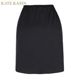 demi-slip noir sexy Promotion Kate Kasin Blanc Moitié Glissement Jupon Femmes Slips Court Jupon Jupon Dames Sexy Taille Élastique Noir Slip Solide Pour Robe