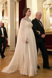 robes de soirée caftan marocain musulman Promotion Kate Middleton Dubai Abaya Robes De Soirée Kaftan Marocain Empire Taille Mousseline De Soie Femme Enceinte Longue Robes De Fête Formelles Robes De Bal Musulmanes