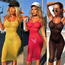 Crochet vestido de uma peça on-line-New Womens Lace Sexy Summer Crochet maiô Bikini Swimwear Cover Up Beach Dress escavar Tops One Piece