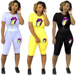 Argentina Mujer Labios Impreso Chándal Traje deportivo de verano Camiseta + Pantalones cortos Conjunto de damas 2 piezas Trajes Ropa deportiva Ropa de jogging supplier lips clothes Suministro