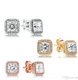 Orecchini in argento sterling 925 placcato oro con diamante grande CZ Orecchini Pandora in oro rosa placcato oro con perno orecchini donne da adulti giocattoli orali di sesso fornitori