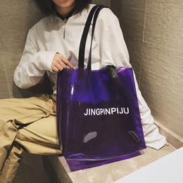 f33d5c824 2019 PVC transparente bolso de playa bolsa de hombro de las mujeres nueva  tendencia del totalizador de la venta caliente del color de la jalea bolsa  de ...