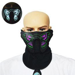 2019 frio instantâneo Máscara LED de Luz Fria Colorido Borboleta Padrão de Controle de Voz de Flash Máscara Legal Real para a Noite de Equitação Festa Festival Cosplay frio instantâneo barato
