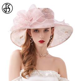 Frau kirche rosa hut online-FS Fascinator Chiffon Derby Hüte Blumen-Hochzeit Hüte für elegante Kirche Kleider Rosa Beige Wide Brim Fedora Women