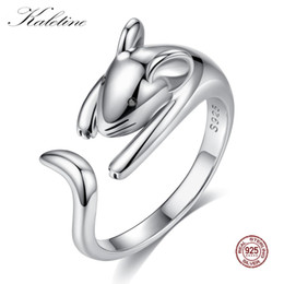 naughty christmas gifts Coupons - Kaletine 925 Sterling Silver Rings for Women Naughty Cut Mouse Finger Cute Long Tail Black CZ Eye DIY Jewelry Christmas Gifts