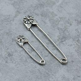 Broches velhos on-line-ChS925 prata esterlina retro old cross flor pin jóias broche xale agulha designer de jóias de luxo