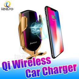Кронштейн датчика онлайн-R2 Qi Wireless Car Fast Charger 5V 2A Высокая скорость зарядки Инфракрасный датчик 360 вращения сотовый телефон кронштейн быстрой зарядки для LG Google izeso