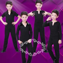 Moda para niños Traje latino Salón de baile negro Tops Pantalones Niños Rumba Tango Cha Cha Práctica Ropa de baile Ropa moderna DC1152 desde fabricantes