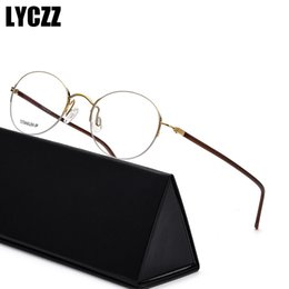 Große rahmenbrillen online-LYCZZ Mode Mann Frau Retro Große Runde Brillengestell Metall Transparente Brillen Halbrahmen Gold optische Brillen Brillen