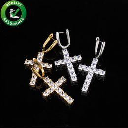 Pendientes de diamantes de las mujeres online-Designer Earrings Luxury Designer Jewelry Cross Earring Mens Women Fashion Diamond Earrings Stud Hip Hop Bling Charms Rapper Accessories