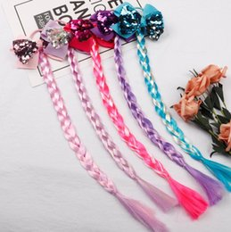girls sequin ties Promo Codes - Christmas Pigtails Hair Bands for Girls Glitter Snowflake Long Braid with Sequin Colorful Wig Hair Tie Children Hair Accessories Xmas Gifts