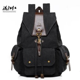 backpack factory Promo Codes - Factory sales brand men handbag multi-functional canvas backpack retro flip type casual backpack large canvas student bag