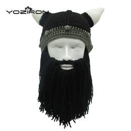 Cappello di barba da sci del beanie online-Fatto a mano barba Beanie Hat all'uncinetto Barba Novità Maschera da sci per adulti Calze a maglia Berretti Uomo Donna Regali di Halloween Skullies