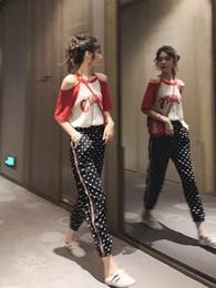 2019 модные футболки с мороженым 2019 новый стиль Гонконга с открытым плечом мороженое футболка спортивный костюм женские летние высокой талией девять очков повседневные брюки из двух частей дешево модные футболки с мороженым