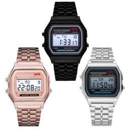 F 91W светодиодные электронные часы Мужские спортивные часы из нержавеющей стали цифровые часы студенты дата цифровые часы Наручные часы смарт cheap smart digital watch от Поставщики умные цифровые часы