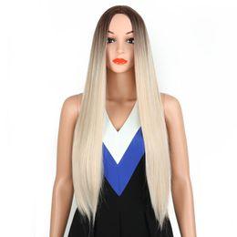 2019 парик цвет градиента Heat Resistant Hair Extensions Long Elegant Salon Natural Gradient Color Women Wig 70cm Straight Styling Synthetic Dyeing скидка парик цвет градиента