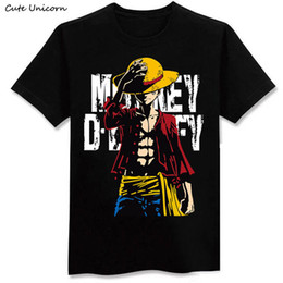 2019 unicas unicórnio Bonito Unicórnio One Piece Luffy Camiseta Casual Tshirt Homme O Pescoço Homem Streetwear T-shirt Roupas Meninos Anime Verão Top T40 S403 unicas unicórnio barato